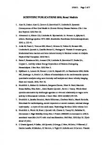 SCIENTIFIC PUBLICATIONS 2010, Renal Medicin