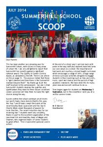 SCOOP SUMMERHILL SCHOOL JULY 2014 INSIDE SCOOP: PARIS AND NORMANDY TRIP. Dear Parents