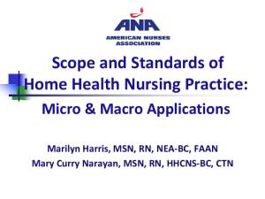 Scope and Standards of Home Health Nursing Practice: