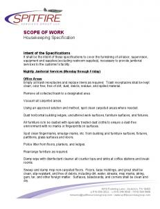 SCOPE OF WORK Housekeeping Specification