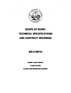 SCOPE OF WORK: TECHNICAL SPECIFICATIONS AND CONTRACT DRAWINGS BID # B6744