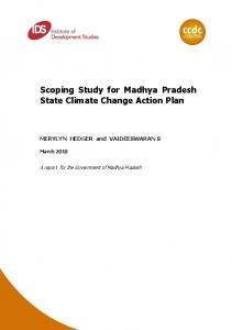 Scoping Study for Madhya Pradesh State Climate Change Action Plan