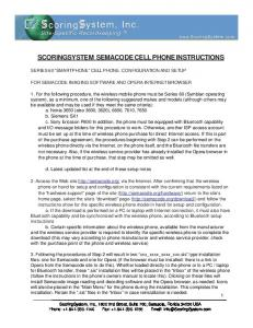 SCORINGSYSTEM SEMACODE CELL PHONE INSTRUCTIONS