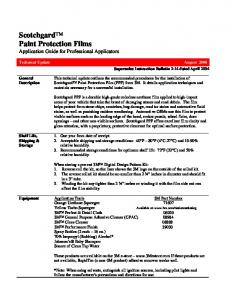 Scotchgard Paint Protection Films Application Guide for Professional Applicators