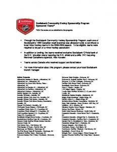 Scotiabank Community Hockey Sponsorship Program Sponsored Teams*