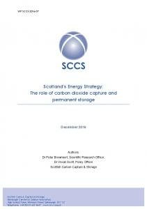 Scotland s Energy Strategy: The role of carbon dioxide capture and permanent storage