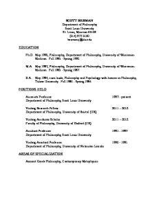 SCOTT BERMAN Department of Philosophy Saint Louis University St. Louis, Missouri (314)
