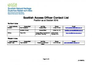 Scottish Access Officer Contact List Position as at October 2016