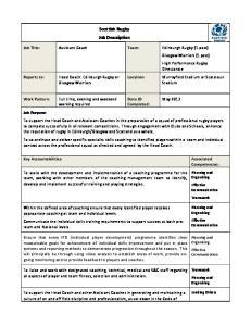 Scottish Rugby Job Description