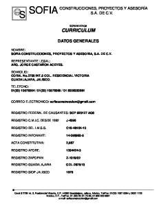 SCP920127AQ6 CURRICULUM DATOS GENERALES
