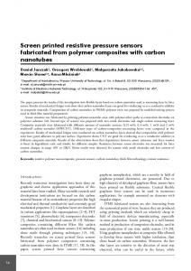 Screen printed resistive pressure sensors fabricated from polymer composites with carbon nanotubes