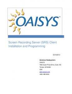 Screen Recording Server (SRS) Client Installation and Programming
