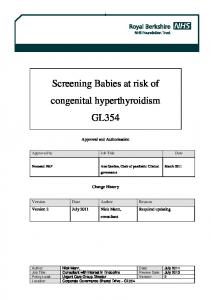 Screening Babies at risk of congenital hyperthyroidism GL354