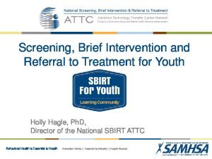 Screening, Brief Intervention and Referral to Treatment for Youth