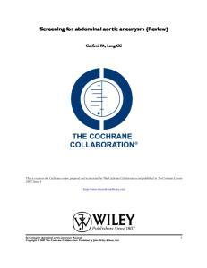 Screening for abdominal aortic aneurysm (Review)
