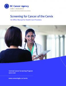 Screening for Cancer of the Cervix