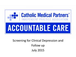 Screening for Clinical Depression and Follow up July 2015