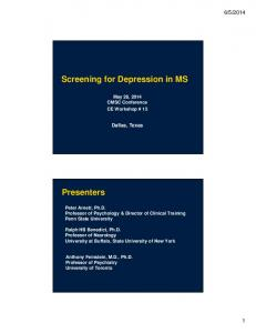Screening for Depression in MS