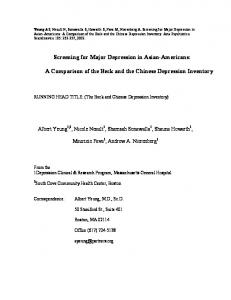 Screening for Major Depression in Asian-Americans: