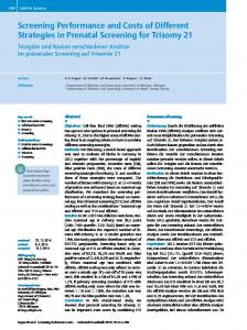Screening Performance and Costs of Different Strategies in Prenatal Screening for Trisomy 21