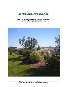 SCREENING STANDARDS. ADOPTED BY MD COUNCIL BY RESOLUTION # 1554 ON THE 2 nd DAY OF DECEMBER, 2010