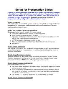 Script for Presentation Slides