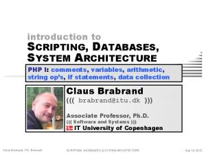 SCRIPTING, DATABASES, SYSTEM ARCHITECTURE