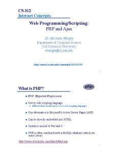 Scripting: PHP and Ajax