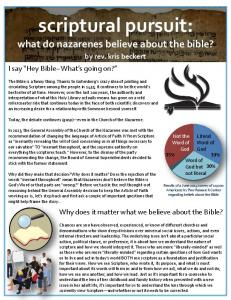 scriptural pursuit: what do nazarenes believe about the bible?
