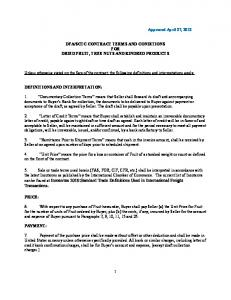 SCTC CONTRACT TERMS AND CONDITIONS FOR DRIED FRUIT, TREE NUTS AND KINDRED PRODUCTS