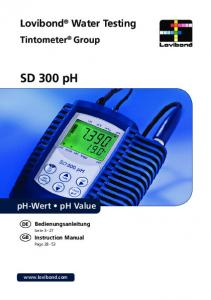SD 300 ph. Lovibond Water Testing. Tintometer Group. ph-wert ph Value. Bedienungsanleitung. Instruction Manual