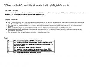 SD Memory Card Compatibility Information for Sony Digital Camcorders