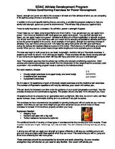 SDAC Athlete Development Program Athlete Conditioning Exercises for Power Development