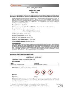 SDS - Safety Data Sheet. Safety Data Sheet Clear Bath