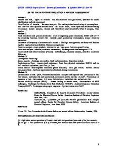 SE 701 HAZARD IDENTIFICATION AND RISK ASSESSMENT