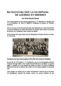 SE INAUGURA HOY LA OLIMPIADA DE AJEDREZ EN DRESDEN