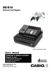 SE-S10. Electronic Cash Register. User's Manual