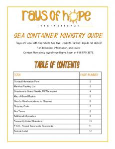 Sea Container Ministry Guide