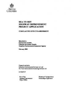 SEA-TO-SKY HIGHWAY IMPROVEMENT PROJECT APPLICATION