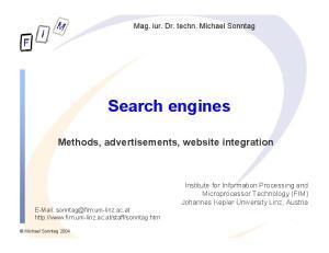 Search engines Methods, advertisements, website integration