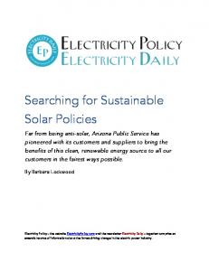 Searching for Sustainable Solar Policies