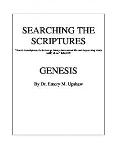 SEARCHING THE SCRIPTURES GENESIS