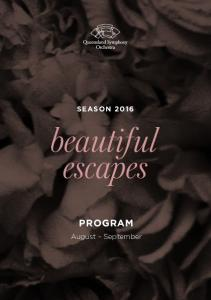 SEASON 2016 PROGRAM. August September