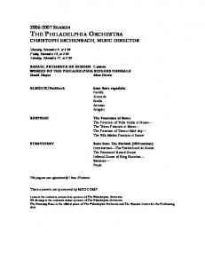 SEASON THE PHILADELPHIA ORCHESTRA CHRISTOPH ESCHENBACH, MUSIC DIRECTOR