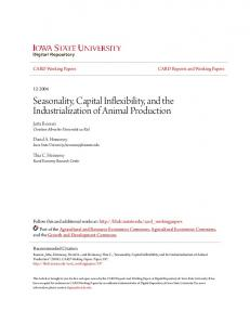 Seasonality, Capital Inflexibility, and the Industrialization of Animal Production