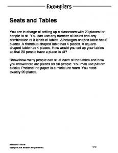 Seats and Tables. Seats and Tables. 1 of 9. Copyright, Exemplars. All rights reserved