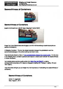 Seaworthiness of Containers
