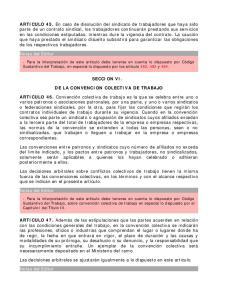 SECCION VI. DE LA CONVENCION COLECTIVA DE TRABAJO