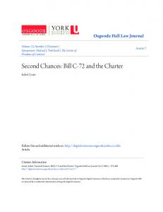 Second Chances: Bill C-72 and the Charter