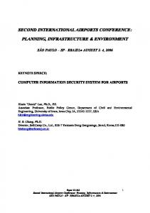 SECOND INTERNATIONAL AIRPORTS CONFERENCE: PLANNING, INFRASTRUCTURE & ENVIRONMENT